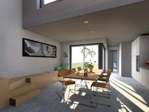 Interieur keuken gezien richting tuin